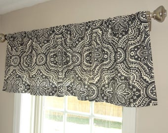 Curtain Valance Topper Window Treatment 52x15 Charcoal Ivory Dakota Floral Design Valance Home Decor