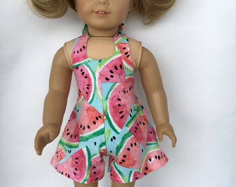 18 inch doll watermelon halter romper, made to fit 18 inch dolls such as American Girl and Bitty Baby
