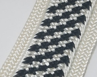 Vintage Black & White Rayon Weave Trim, By the YARD, Vintage Textiles, Rayon Weave, New Old Stock, Bulk Trim,  Sewing/Crafting Supplies