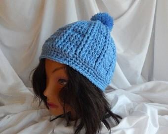Crochet Pom Pom Hat Beanie - Medium Blue - Woman's Fashion Hat