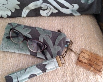 8in Clutch in Teal Blue Tiffany Seafoam Green Damask Cut Velvet MINI MIA 8 inch eyeglass Clutch Ready To Ship