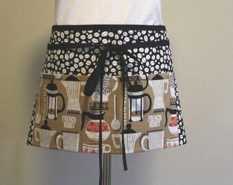 Half Apron 5 Loops Coffee Print Barista Apron, Half Apron, Crafters Apron in Coffee Print
