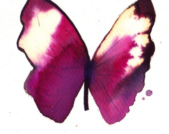 """magenta purple pink white gold butterfly with black wing original watercolour painting 7 x 5"""""""