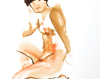 female figure 1 watercolour ink figure painting on paper ORIGINAL ART