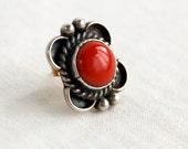 Red Coral Stud Earring SINGLE Vintage Western Post Jewelry Southwestern Sterling Silver