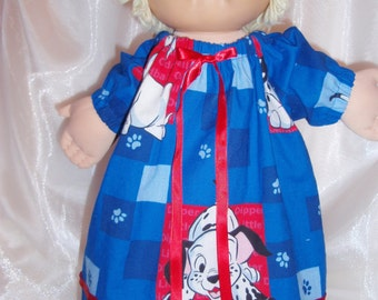 "101 Dalmations Print Cabbage Patch Nightgown, 16""-18"" Doll Clothes, Cabbage Patch Doll Clothes, Baby Alive Clothes"