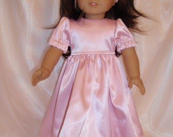 "18 Inch Doll Pink Satin Party Dress With Headband, 18"" Doll Clothes, AG Doll Clothes, Girl Doll Clothes"