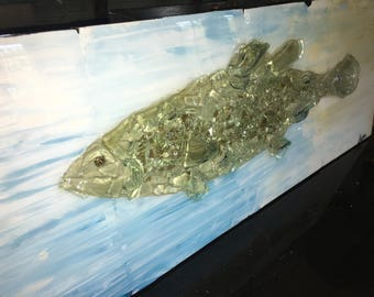 Large Fish painting on wood - 3d with glass - original painting by dlynnart