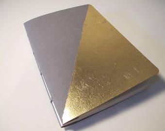 Grey and Gold Journal Notebook: Gold Metallic Modern Art Deco Handmade Book