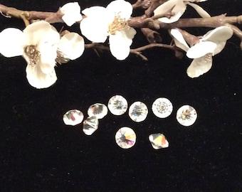 Vintage Bicone Faceted Clear Crystals, Vintage Beads, Vintage Crystals, Vintage Jewelry Repair