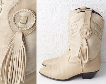 Boho Southwestern Cowgirl Boots, Soft Beige Leather with Feather Fringe Amulet, Country Western Dancing Boots, by Laredo, Size 9 Ladies