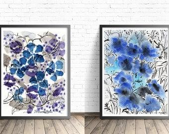 Set of 2 Prints. Home decor wall art. Nature Wall Art Print Set. Floral print art. Blue Watercolor print set. Nature prints. Painting set.
