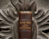 Vintage Charles Dickens book Oliver Twist and Great Expectations