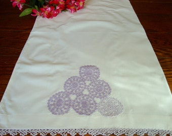 Pillowcase Purple Tatting Vintage Hand Crochet Details and Trim Bed Linens Bedding