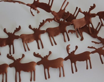 Brown Satin Moose Cutouts