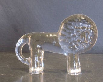 Vintage Kosta Boda Glass Zoo Lion Flat Back