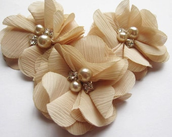 "10 Chiffon 2"" Flower Rhinestone Pearl-Beige D007-1"