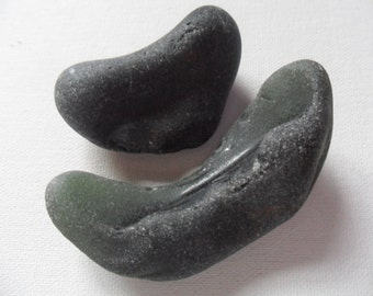 2 very old chunky darkest green/black - Lovely beach find pieces from North West England