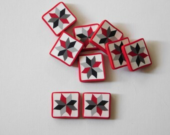 Eight Point Star polymer clay buttons - Quilt Block tiles, beads, charms
