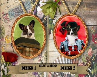 Welsh Corgi Cardigan Jewelry/Corgi Pendant or Brooch/Corgi Portrait/Dog Handmade Porcelain Jewelry/Custom Dog Jewelry by Nobility Dogs