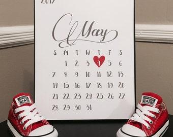Pregnancy Announcement Calendar, Calendar with due date, Custom Calendar with due date, Printable, Baby announcement, Digital Prints