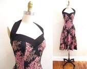 Vintage 1950s Dress | Black and Pink Floral Print 1950s Halter Dress | size small - medium