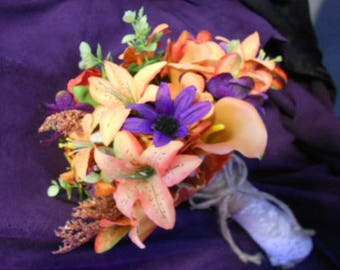 Fall Wedding Bouquet, Tiger Lily Silk Flower Bridal Bouquet. Orange Plum Purple Green. Orange Tiger Lilies Calla