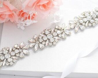 Bridal Crystal, Pearl sash. Rhinestone Applique Wedding Belt.Party Sash belt ,vintage sash belt