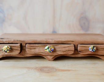 Low rider triple drawer arches box. wood box. bandsaw box.  wooden box. glass drawer pull. drawer box. painterly glass. wood grain box.