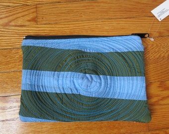 flat zippered pouch. patchwork. blue and army green. clutch. washable. lightweight. durable. lined. vegan