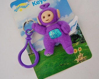 Teletubbies Tinky Winky Plush Keychain Toy Vintage 90's Kids