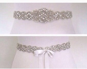 All around beaded bridal sash crystal wedding belt sash