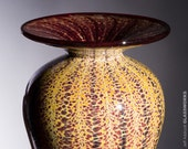 Hand Blown Glass Vase - Classic Flared Lip with Earthy Golden Savannah Stripes