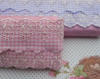 """Lace Eyelet Gingham Cotton 2"""" width 1 Yard Anglaise Broderie"""