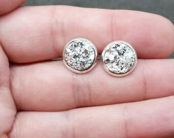 Silver Druzy Stud Earrings, Hypoallergenic, Dainty Earrings, Minimalist Earrings, Druzy Post Earrings, Stud Earrings, Druzy Jewelry