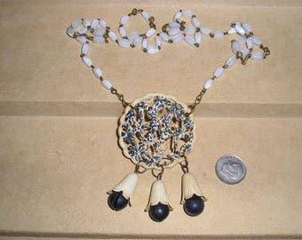 Vintage Art Nouveau Celluloid Flower Necklace With Dangles 1890's Jewelry 10025