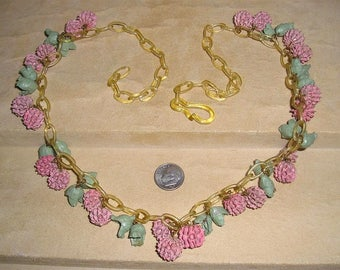 Vintage Unusual Celluloid Necklace With Real Painted Seed Pod Accents 1930's Jewelry 6043