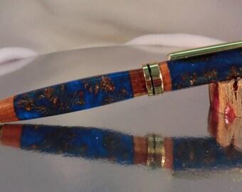 Designer Euro Twist Pen/ Turquoise Blue/ Alder Cones