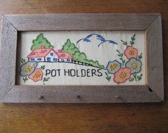 Embroidery In Rustic Frame Crochet Pot Holder Rack