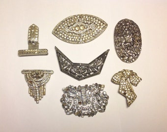 Antique Lot Rhinestone Shoe Clips, Brooches and Buckles 7 Pieces Wear or Repair
