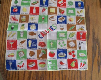 CALORIES Vintage Handkerchief Burmel Calorie Counting Hankie Fun Whimsical Ladies Handkerchief