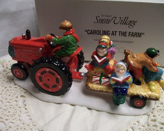 Vintage Snow Village Accessory Caroling at the Farm Tractor with Carolers Original Box Christmas Village Farm Scene  Department 56