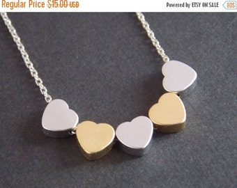 SALE Heart Necklace, Silver Heart Necklace, Gold Heart, Valentines, Heart Pendant, Tiny Heart, Dainty Necklace, Friend Gift, Birthday Gift