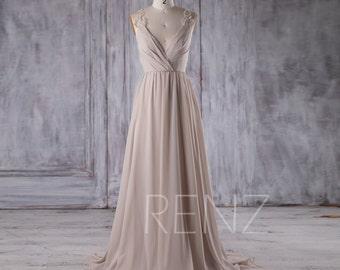 2017 Cream Chiffon Bridesmaid Dress, Deep V Neck Wedding Dress, Lace Beading Wedding Dress, Backless Prom Dress Full Length (L245)