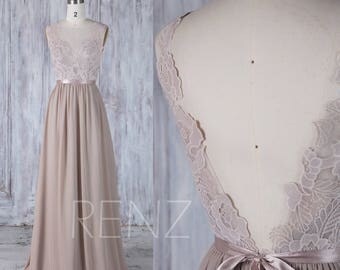 Bridesmaid Dress Taupe Chiffon Dress,Wedding Dress,Lace Illusion V Back Party Dress with Sash,Boat Neck A Line Sleeveless Maxi Dress(L291)