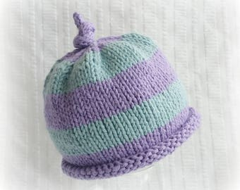 Baby Beanie Hat - Striped Baby Hat in Soft Purple and Teal - Hand Knit - Unisex - Rolled Brim and Topknot - Soft Washable Cotton