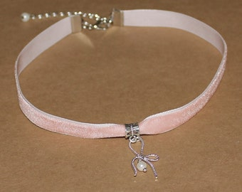 Light Pink Velvet Bow with Pearl Choker Necklace Handmade
