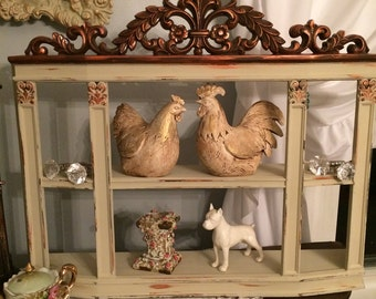 A vintage ornate wall shelf,  French country, Fixer upper, Country Grey and copper