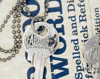 Vintage Key Necklace, Key Necklace, Dog Necklace, German Shepherd Jewelry, Belgian Malinois Necklace, Prague, Czech Republic Key Necklace