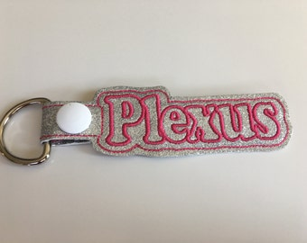 Plexus KeyChain, Snap Tab Pink on Silver Glitter Canvas